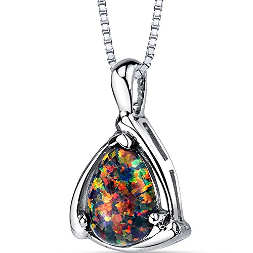Created Black Opal Equerre Pendant Necklace Sterling Silver 1.00 Carats