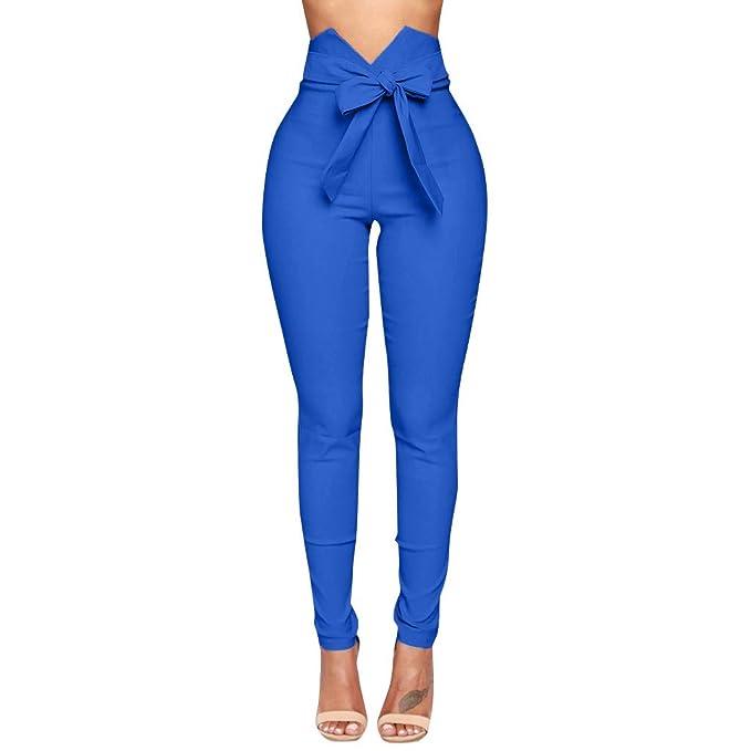 STRIR Mujer Pantalones Largos de Vestir Cintura Alta Slim Fit ...