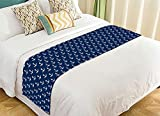 Custom Chevron Marine Nautical Navy Anchor Bed Runner Cotton Bedding Scarf Bedding Decor 20x95 inches