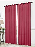 RT Designers Collection Cara Sheer Voile 54 x 84 in. Grommet Curtain Panel, Burgundy