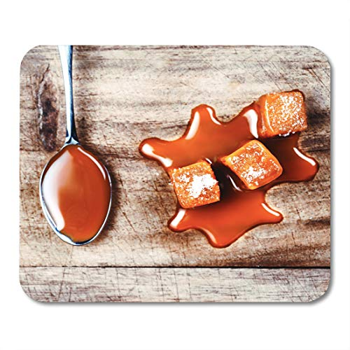 Boszina Mouse Pads Candy Liquid Homemade Caramel Sauce Flowing on Candies Wooden Board Close Up Butterscotch Toffee Mouse Pad for notebooks,Desktop Computers mats 9.5