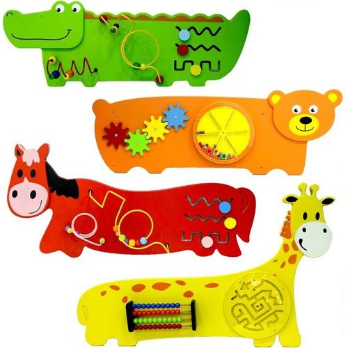 Serra Baby Wooden Animal reliefs along Educational Wall Toy by Serra Baby