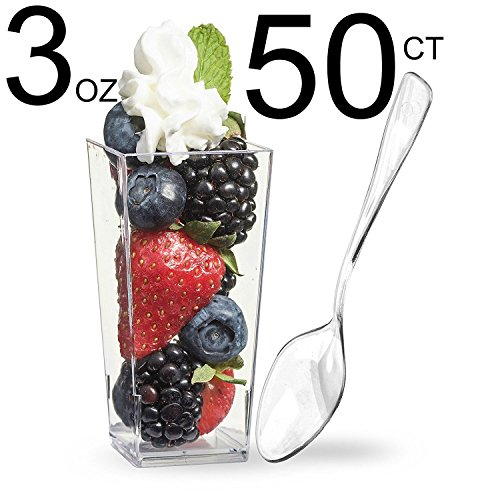 Zappy 50 3oz Mini Dessert Cups & 50 Tasting Spoons Tall S...