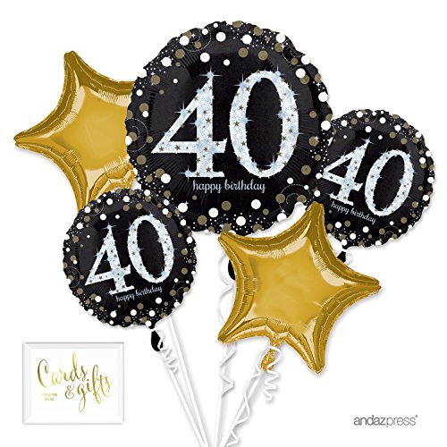 (Andaz Press Balloon Bouquet Party Kit with Gold Cards & Gifts Sign, Bouquet Milestone 40th Glittering Gold Birthday Decorations,)