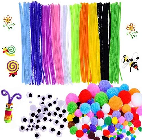 450 Pcs Craft Supply Set Which Includes 100Pcs Pipe Cleaners Chenille Stem 150Pcs Self-Sticking Wiggle Googly Eyes and 200Pcs Pompoms for DIY School Art Projects by Baleauty