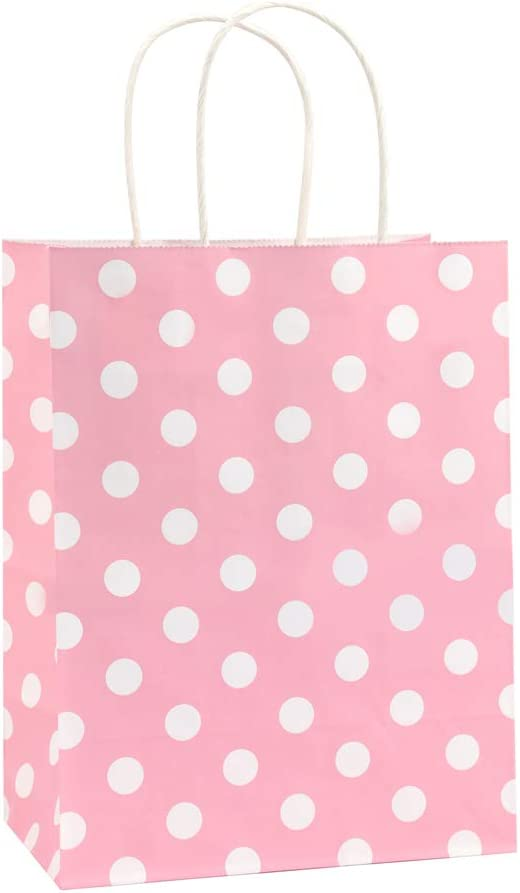 Gift Bags 25Pcs 8x4.75x10.5 Inches BagDream Shopping Bags, Paper Bags, Kraft Bags, Retail Bags, Holiday Party Bags, Pink Dot Paper Bags with Handles, Pink Paper Gift Bags