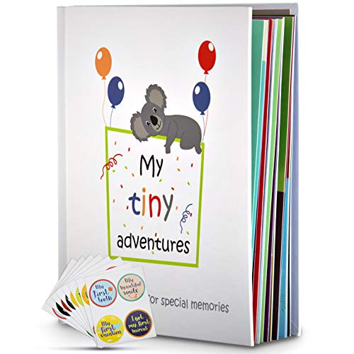 Baby Memory Book  First 5 Years Photo Album, Journal & Scrapbook + 28 FREE Monthly & Milestone Stickers. Modern Baby Shower Gift for Girl or Boy. 54 Pages + Gift Box & Keepsake Envelope by Tiny Gifts
