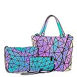 Geometric Luminous Purses and Handbags for Women Holographic Reflective Crossbody Bag Wallet 3PCS