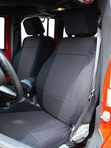 Coverking Custom Fit Seat Cover for Jeep Wrangler JK 4-Door - (Neoprene, Solid Black)