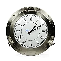 20 Large Aluminum Brushed Nickel Plated Metal Wall Clock | Nautical Porthole Clock | Nagina International