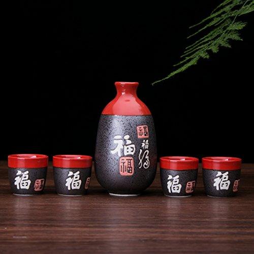 Japanese Ceramic Sake Cup - Glazed Ceramic 5 Pcs Japanese Sake Set Chinese Calligraphy