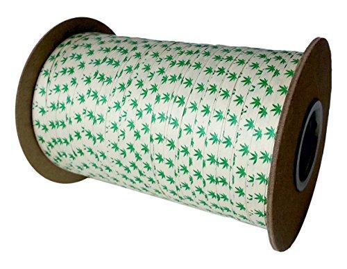 Cream City Ribbon Cannabis Leaf Organic Cotton Curling/Craft Ribbon, 3/16