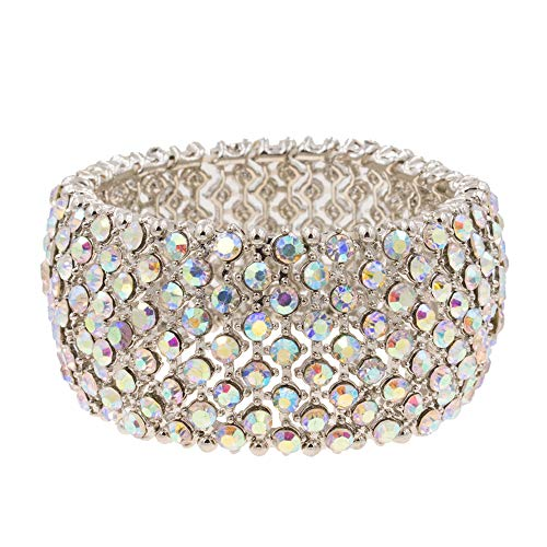 Lavencious Tennis Rhinestone Stretch Bracelets Adjustable Jewelry Party for Woman Bangle (Silver - AB)
