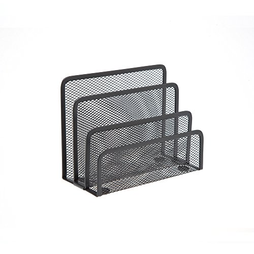 Comix Metal Mesh Letter Holder and File Organizer for Desk - Black