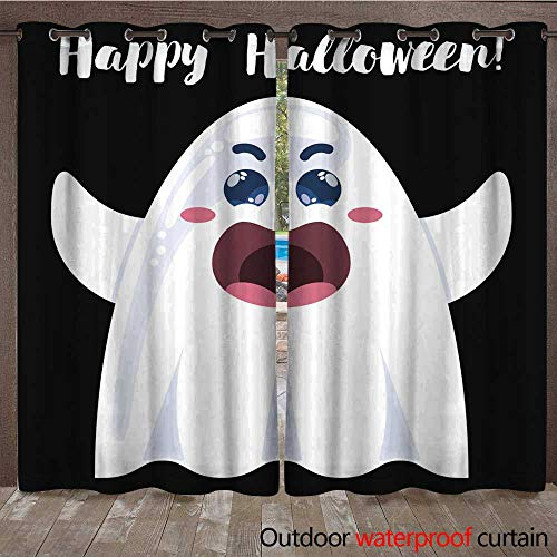 RenteriaDecor Outdoor Curtain for Patio Halloween Funny Cartoon Ghost W72 x L84 ()