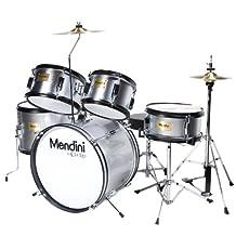 Mendini 5-Piece 16-Inch Junior Drum Set, Metallic Silver - MJDS-5-SR