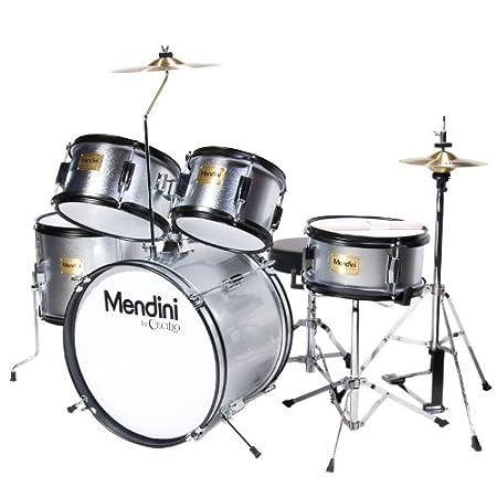 Mendini 5-Piece 16-Inch Junior Drum Set, Metallic Bright Red - MJDS-5-BR Cecilio Musical Instruments