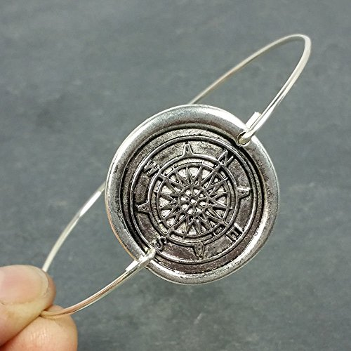 Wax Seal Compass Bangle Bracelet - Sterling Silver (Seal Compass)