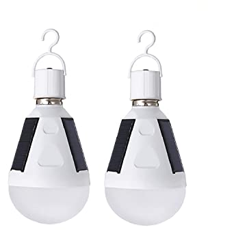 Solar LED Light Bulb 2PCS E27, 12W Portable Rechargeable Lights Hanging Solar Lamp for Indoor
