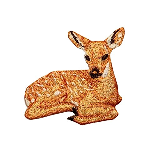 ID 0719 Baby Deer Laying Down Patch Cute Fawn Wild Embroidered Iron On Applique
