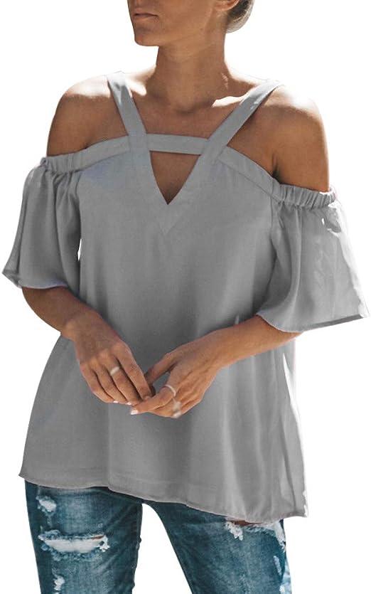 Camisa para mujer con hombros descubiertos, cuello en V ...