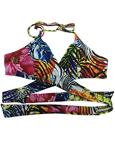 Lomon Bikini Traje flores Verde Push-up De Baño Conjunto Bra acolchado Bañadores Halter Backless Swimwear Brasileño Amarillo
