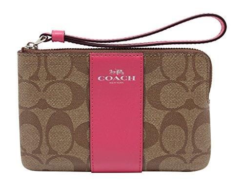 (Coach Signature Zip Wallet Clutch Bag - Pink/Khaki)
