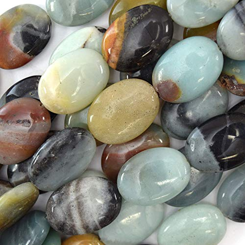 25mm Multicolor Blue Amazonite Flat Oval beads 16'' Strand