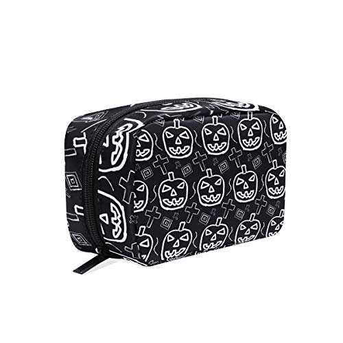 cosmetic bag Halloween Death Pumpkin make up zip pouch -