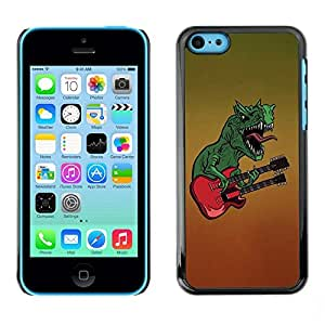 Be Good Phone Accessory // Dura Cáscara cubierta Protectora Caso Carcasa Funda de Protección para Apple Iphone 5C // Dinosaur Rock Music Guitar Monster Art