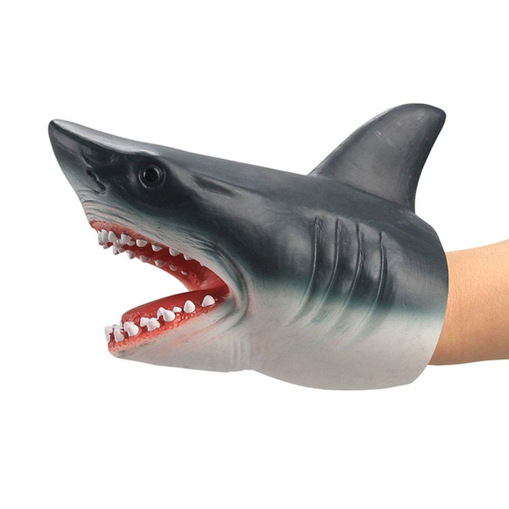 Realistic Sea Animal Puppet Kids Soft Touch Rubber Hand Puppets Role Play Game Rubber Glove Puppets for Both Children and Adults Shark