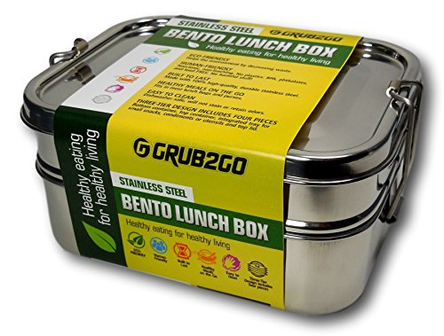 save 38 stainless steel lunch box by grub2go free bento ideas guide premium 3 layer 1600. Black Bedroom Furniture Sets. Home Design Ideas