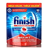 Finish Dishwasher Detergent Soap, Max in 1 Powerball Super Charged, Fresh, Mega Value Pack, 90 Tablets