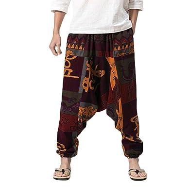 Pantalones De Harén Bombachos Hombre Mujer,ZARLLE Unisex para Yoga Cómodo Ancho Harem Pants con Entrepierna Casual Pantalones De Harén Festival ...