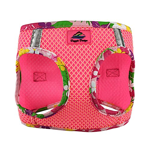 DOGGIE DESIGN American River Choke Free Dog Harness Hawaiian Trim (S, Candy Pink) ()