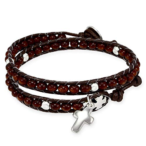 (Wrap Around Rosary Bracelet, Ladder Design with Brown Wooden Beads)
