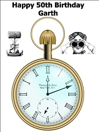 Enjoyable A4 Vintage Steampunk Pocket Watch Birthday Cake Toppers Personalised Birthday Cards Arneslily Jamesorg
