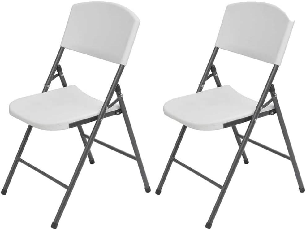 Tidyard- 2 sillas de jardín Plegables Blancas Resistentes a la corrosión,compuestas de Acero en Polvo y plástico de Alta Resistencia: Amazon.es: Hogar