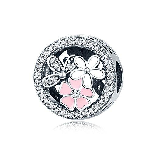 Everbling Poetic Blooms Pink Enamel Dangle Clear CZ 925 Sterling Silver Bead Fits European Charm Bracelet (Enamel CZ)