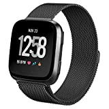 hooroor for Fitbit Versa Bands Women Men Small Large, Milanese Loop Stainless Steel Metal Sport Replacement Bracelet Strap with Magnet Lock Wristbands for Fitbit Versa Smart Watch (Black, Large)