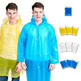 10 Rain Poncho Rain Coat, 9 Pack Disposable Poncho, 3 Metallic Colors, 1 Portable Drawstring Raincoat with Hoods and Sleeves