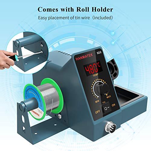 Soldering Station With Additional 5 Tips HANMATEK Digital Display Soldering Iron Station 392℉-896℉ Temperature Adjustable Better Soldering Iron Soldering Kit with Solder Bracket SD2