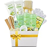 Deluxe XL Gourmet Gift Basket with Essential Oils. 20-Piece Luxury Spa Gift Set with Bath Bombs, Body Lotion, Bubble Bath & More! Huge Gift Set for Her, Holiday Gift (Cucumber Melon)