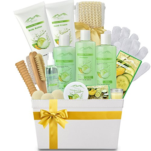 Deluxe XL Gourmet Gift Basket with Essential Oils. 20-Piece Luxury Spa Gift Set with Bath Bombs, Body Lotion, Bubble Bath & More! Huge Gift Set for Her, Holiday Gift (Cucumber Melon) by Purelis