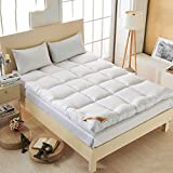 YQ WHJB Hotel Mattress-Toppers,Thicken Polyester Mattress Pads,Foldable Non-Slip Soft Overfilled Quilted Breathable Bed roll-White 90x200cm(35x79inch)