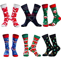Deals on 6-Pairs Bircen Christmas Funny Socks for Men