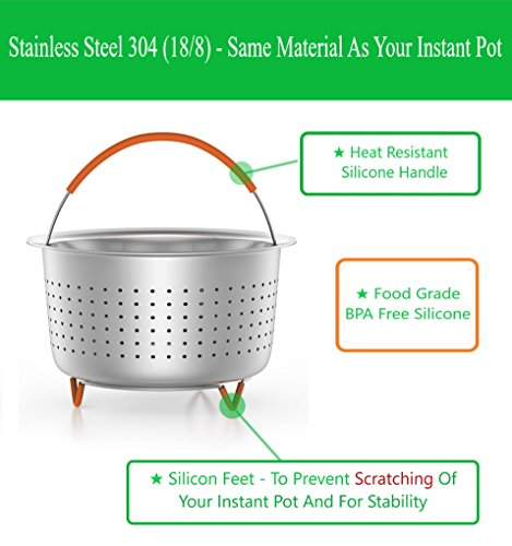 Steamer Basket Accessories For Instant Pot 6 & 8 quart - Sturdy Stainless Steel IP InstaPot Insert And Stainer - Silicone Handle And Feet For Stability, Protection And Convenience - Easy To Clean by Unique Impression (Image #1)