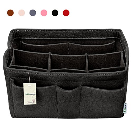 Hokeeper Felt Purse Insert Organizer, Handbag Organizer, Bag in Bag for Handbag Purse Tote, Diaper Bag Organizer, Stand on Its Own,10 Compartments, 4 Sizes, 6 Colors (X-Large, Black) by Hokeeper