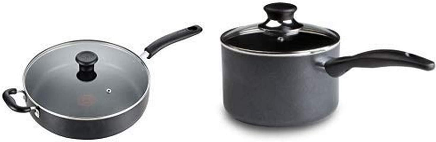 T-fal B36290 Specialty Nonstick 5 Qt. Jumbo Cooker Sauté Pan with Glass Lid, Black AND T-Fal Specialty 3 Quart Handy Pot w/Glass Lid