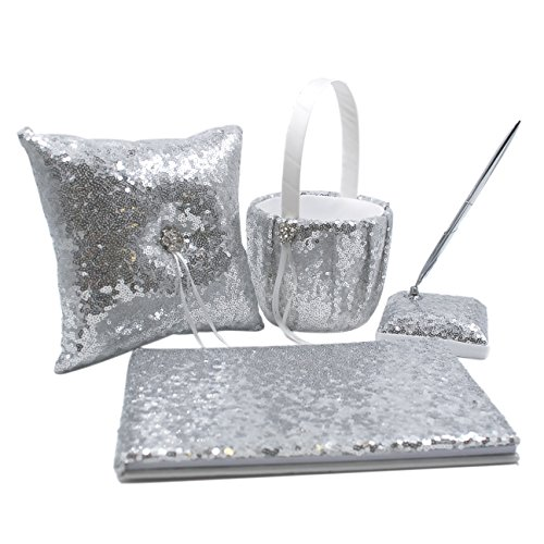 Abbie Home Sequin Glitter Wedding Guest Book + Pen Set + Flower Basket + Ring Bearer Pillow Rhinestone Décor Wedding Party Favor-Silver ()